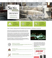 HVAC website - Sword Heating & Cooling in Brookhaven, PA - (484) 463-8670 - is an example of a PagePilot HVAC website design