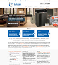 HVAC website - Rahman Heating, A/C & Fireplace, LLC in Plainview, MN - (507) 710-4044 - is an example of a PagePilot HVAC website design