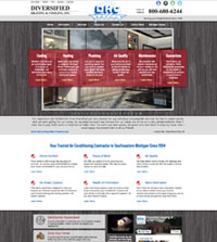 HVAC website - Diversified Heating & Cooling in Farmington Hills, MI - 800-680-6244 - is an example of a PagePilot HVAC website design