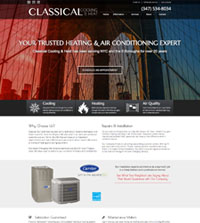 HVAC website Classical Cooling & Heat - in Brooklyn, NY - (347) 534-8034 - is an example of a PagePilot HVAC website design