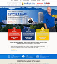 HVAC website - Just Right Air in Salt Lake City, UT - (801) 923-7859 - is an example of a PagePilot HVAC website design