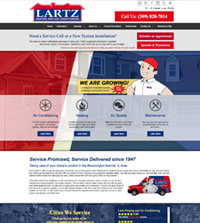 HVAC website - Lartz Heating and Air Conditoning in Bloomington, IL - (251) 660-9595 - is an example of a PagePilot HVAC website design