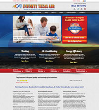 HVAC website - Infinity Texas Air in  Kaufman, TX - (972) 564-8450 - is an example of a PagePilot HVAC website design
