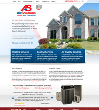 HVAC website - Air Solutions Heating & Air Conditioning in Greeley, CO - (970) 356-7072 - is an example of a PagePilot HVAC website design
