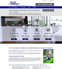 HVAC website - B & B Appliance and Refrigeration Service in Littleton, CO - (303) 973-3408 - is an example of a PagePilot HVAC website design