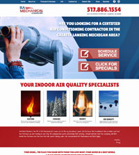HVAC website - RA Mechanical & Sons in Lansing, MI - (517) 886-1554 - is an example of a PagePilot HVAC website design
