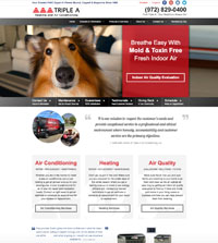 HVAC website - Triple A Heating and Air Conditioning in Irving, TX - (972) 829-0400  - is an example of a PagePilot HVAC website design