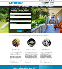HVAC website - ComfortMan in Doraville, GA - (770) 414-1808 - is an example of a PagePilot HVAC website design