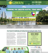 HVAC website - Go Green Heating & Cooling in Austin, TX -  (512) 288-2665 - is an example of a PagePilot HVAC website design