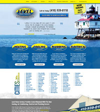 HVAC website - Level Home Services in Havre De Grace, MD - (410) 939-0110 - is an example of a PagePilot HVAC, pluming and Electrical website design