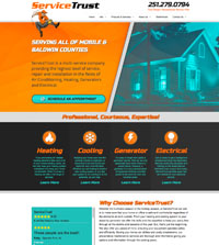 Plumbing website - Service Trust in Minette, AL - (251) 279-0794 - is an example of a PagePilot plumbing website design