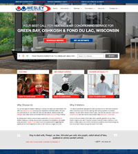 HVAC website - Wesley Heating & Cooling in Green Bay, WI - (920) 468-6951 - is an example of a PagePilot HVAC website design