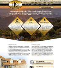 HVAC website - TKC Heating and Air Conditioning in Culpeper, VA - (540) 543-2200 - is an example of a PagePilot HVAC website design