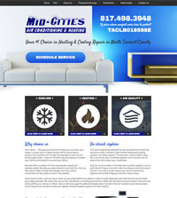 HVAC website - Mid-Cities Air Conditioning & Heating in Keller, TX - (817) 498-3948 - is an example of a PagePilot HVAC website