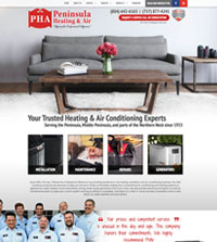 HVAC website - Peninsula Heating & Air in Hayes, VA - (804) 642-6163 - is an example of a PagePilot HVAC website design