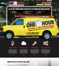 HVAC website - Cullin's One Hour in Lewis Center, OH - (614) 890-0851 - is an example of a PagePilot HVAC website design