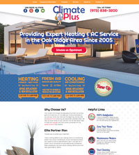 HVAC website - ClimatePlus in Oak Ridge, NJ - (973) 838-3200 - is an example of a PagePilot plumbing website design