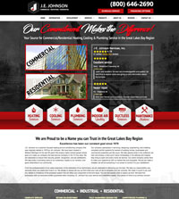 HVAC website - J.E. Johnson in Midland, MI - (800) 646-2690 - is an example of a PagePilot HVAC website design