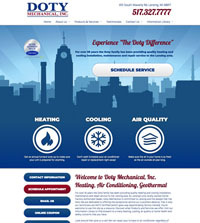 HVAC website - Doty Mechanical in Lansing, MI - (517) 327-7777 - is an example of a PagePilot HVAC website design