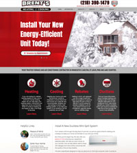 HVAC website - Brent's Heating & Cooling in Carlton, MN - (218) 390-1479 - is an example of a PagePilot HVAC website design