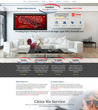 HVAC website - Comfort Heating and Air Conditioning in Burnsville, MN - (952) 217-4060 - is an example of a PagePilot HVAC website design