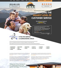 Plumbing website - Peak Heating & Cooling, Inc. in Chanhassen, MN - (952) 401-1195 - is an example of a PagePilot HVAC website design