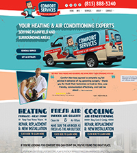 HVAC website - Comfort Services in Plainfield, IL - (815) 782-4440 - is an example of a PagePilot HVAC website design