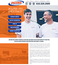 HVAC website - Jacob's Air Conditioning & Heating in Carbondale, IL - (618) 529-2989 - is an example of a PagePilot HVAC website design