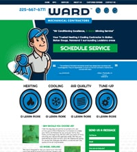 HVAC website - Ward Mechanical Contractors in Denham Springs, LA - (225) 667-6771 - is an example of a PagePilot plumbing website design