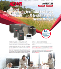 Plumbing website - Adams & Son, Inc. in Sodus, MI - (269) 927-3766 - is an example of a PagePilot Plumbing website design