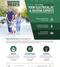 HVAC website - Webb's Electric, Heating & Air Conditioning in Sherman, TX - (903) 200-4584 - is an example of a PagePilot HVAC website design