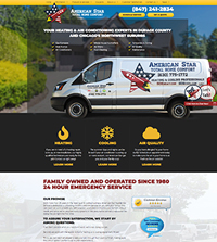 HVAC website - American Star in Rolling Meadows, IL - (847) 241-2834 - is an example of a PagePilot HVAC website design