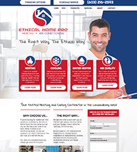 HVAC website - Ethical Home Pro, Inc. in Londonderry, NH - (603) 216-2593 - is an example of a PagePilot HVAC website design