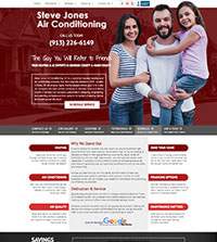HVAC website - Steve Jones Air Conditioning in Paola, KS - (913) 226-6149 - is an example of a PagePilot HVAC website design