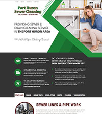 HVAC website - Port Huron Sewer Cleaning in Port Huron, MI- (810) 984-2947 - is an example of a PagePilot Plumbing website design