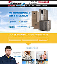HVAC website - Advantage Heating & Cooling, Inc. in Battle Creek, MI - (269) 966-9595 - is an example of a PagePilot HVAC website design