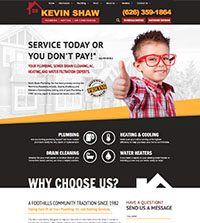 HVAC website - Kevin Shaw in Monrovia, CA - (626) 359-1864 - is an example of a PagePilot HVAC website design
