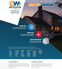 HVAC website - CW Mossor in Stephens City, VA - (540) 8680110 - is an example of a PagePilot HVAC website design