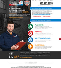HVAC website - Parker Home Services in Parker, CO - (435) 387-5044 - is an example of a PagePilot HVAC website design