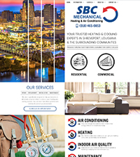 HVAC website - SBC Mechanical in Shreveport, LA - (318) 465-0853 - is an example of a PagePilot HVAC and plumbing website design