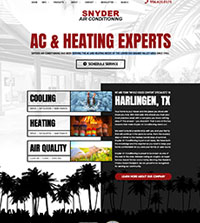 HVAC website - Snyder in Harlingen - (956) 425-0175 - is an example of a PagePilot HVAC website design