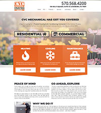 HVAC website - CVC Mechanical in Lewisburg, PA - (570) 568-4200 - is an example of a PagePilot HVAC website design