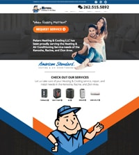 HVAC website - Peters Heating & Cooling in Kenosha, WI - (262) 515-5892 - is an example of a PagePilot HVAC website design