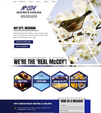 HVAC website - McCoy Heating & Cooling in Bay City, MI - (989) 895-8569 - is an example of a PagePilot HVAC website design