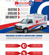 HVAC website - Accu-Temp Heating & Air COnditioning in Howell, MI - (517) 548-1555 - is an example of a PagePilot HVAC website design