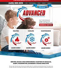 HVAC website - Advanced Heating * Air Conditioning in Valley, NE - (402) 359-2213 - is an example of a PagePilot HVAC website design