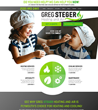 HVAC website - Greg Steger Heating & Air in Plymouth, WI - (920) 892-2441 - is an example of a PagePilot HVAC website design