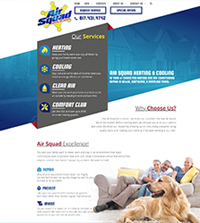 HVAC website - Air Squad in Keller, TX - (817) 431-4742 - is an example of a PagePilot HVAC website design