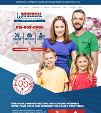 HVAC website - Universal Heating & Cooling in Goodlettsville, TN - (615) 859-0985 - is an example of a PagePilot HVAC website design
