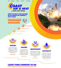 HVAC website - Coast Air & Heat in Melbourne, FL - (321) 255-0994 - is an example of a PagePilot HVAC website design